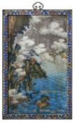 A RARE REVERSE GLASS 'LANDSCAPE' MIRROR PAINTING 18th century