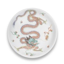 A RARE AND LARGE FAMILLE VERTE AND GILT 'DRAGON' SAUCER-DISH Kangxi six-character mark and of th...