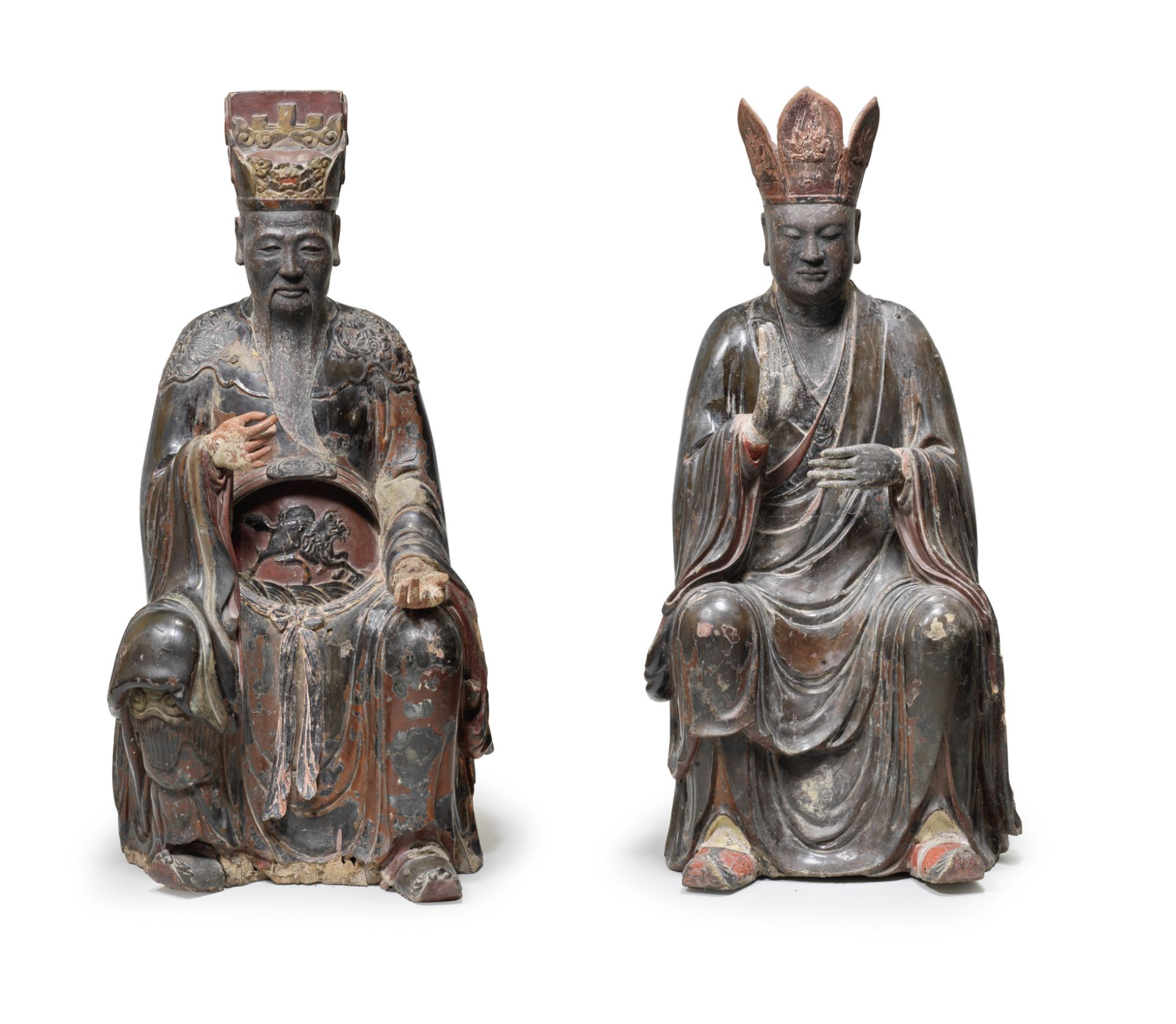 A RARE LARGE PAIR OF LACQUERED WOOD FIGURES OF DIGNITARIES Southeast Asia, circa 17th century (4)