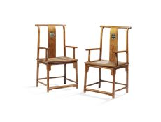 A RARE PAIR OF HUANGHUALI MARBLE-INSET HIGH-BACK ARMCHAIRS, GUANMAOYI 17th/18th century (2)