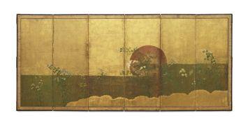 ANONYMOUS Sunset over Musashi Plain, Momoyama (1573-1615) or Edo (1615-1868) Period, 17th century