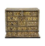 A RARE GILT-COPPER-MOUNTED SHELL-INLAID NANBAN LACQUER CABINET Momoyama Period, late 16th/early 1...