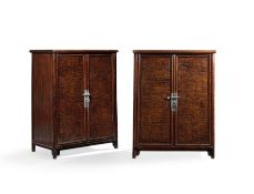 A PAIR OF RARE HUANGHUALI, BURLWOOD AND FRUITWOOD ROUND-CORNER CABINETS, YUANJIAOGUI 17th/18th ce...
