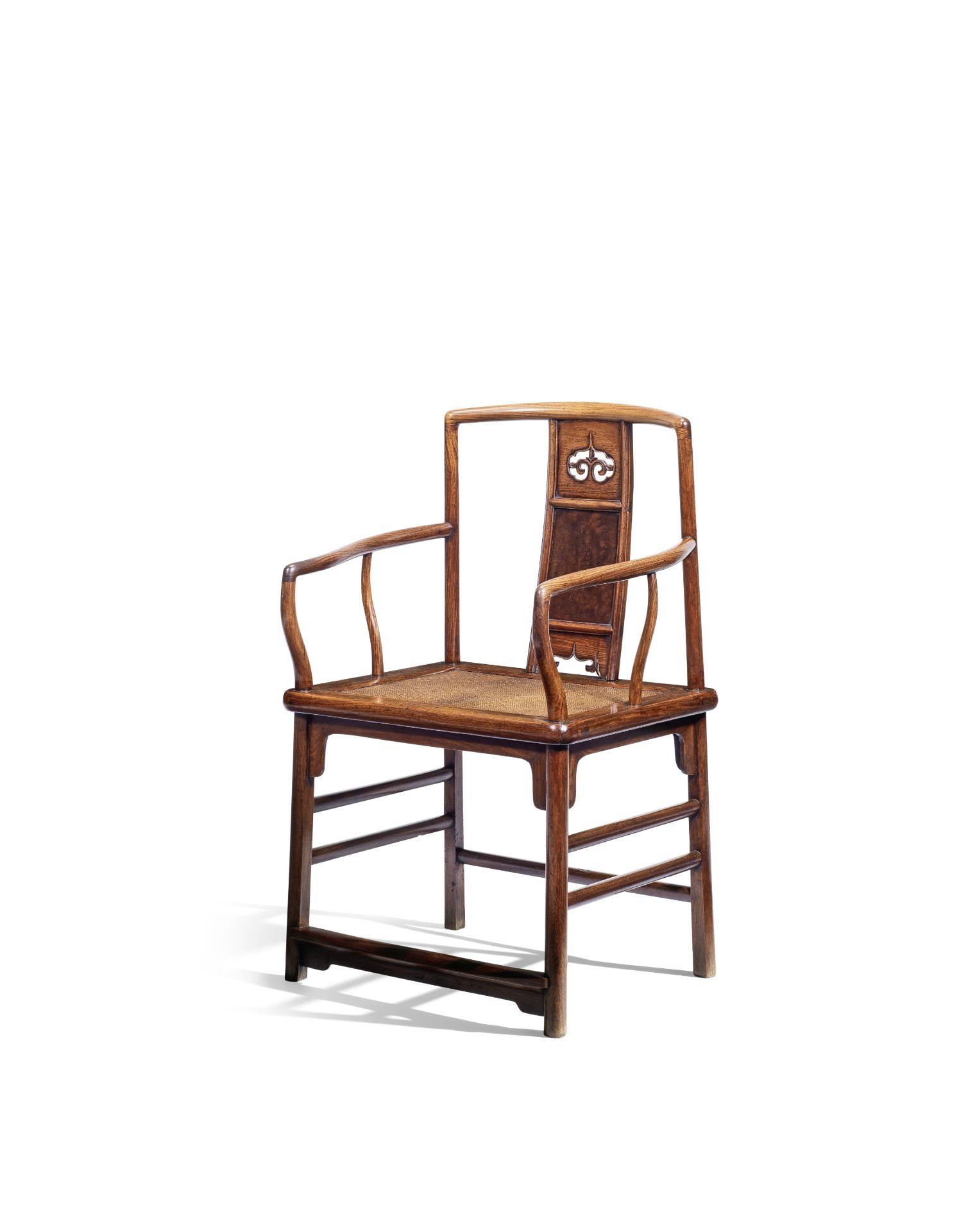 AN EXTREMELY RARE HUANGHUALI LOW-BACK CONTINUOUS YOKEBACK ARMCHAIR, NANGUANMAOYI 17th century