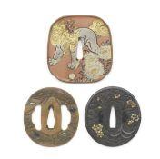 Three tsuba (sword guards) Edo period (1615-1868) to Showa era (1926–1989), 19th/20th centu...