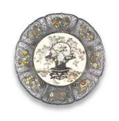 An ivory Shibayama-inlaid and enamelled silver-filigree dish By Masayoshi, Meiji era (1868-1912),...