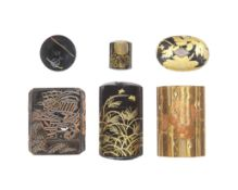 A group of various netsuke and inro The second inro by a member of the Kajikawa family, the third...