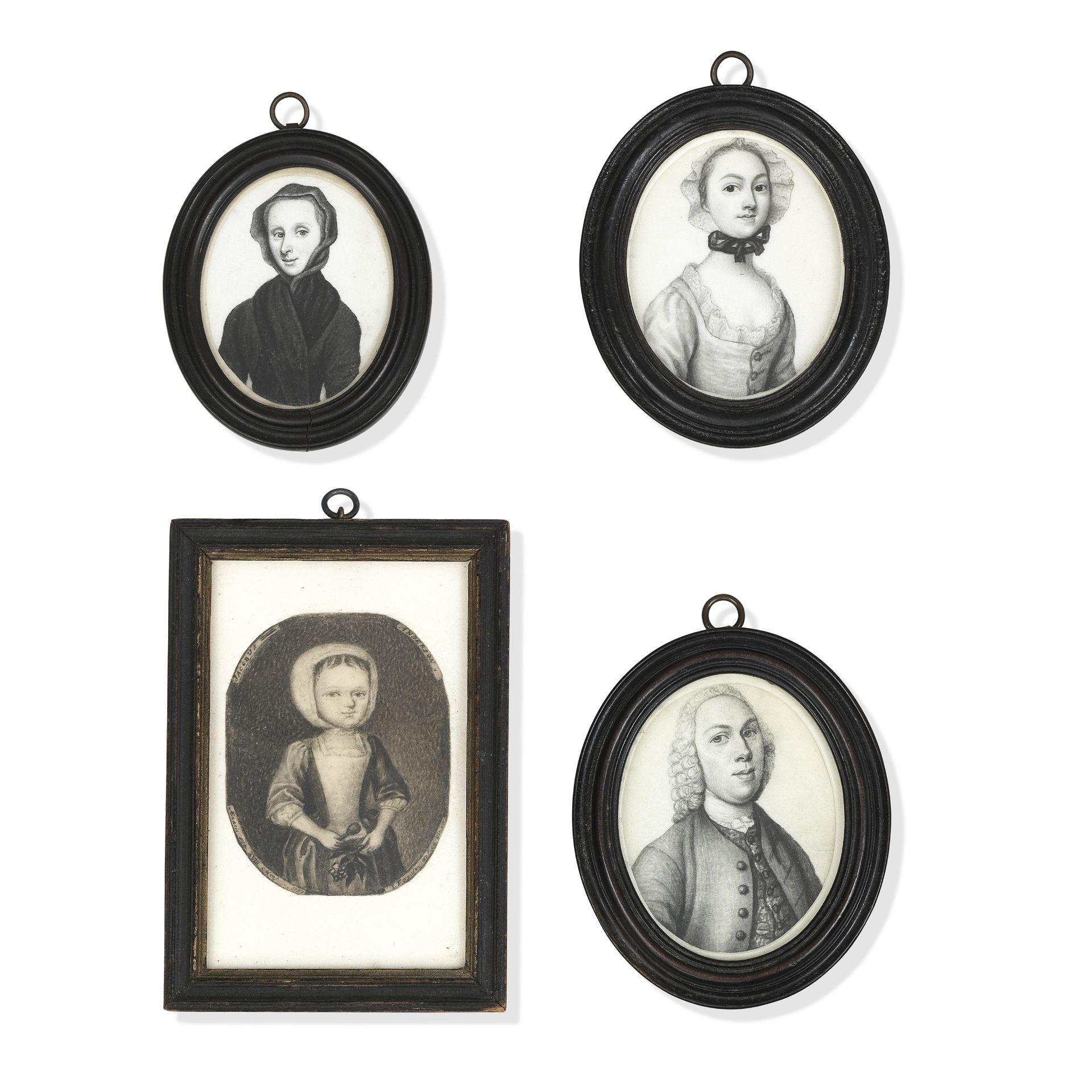 James Ferguson (Scottish, 1710-1776) A group of four plumbago miniatures: