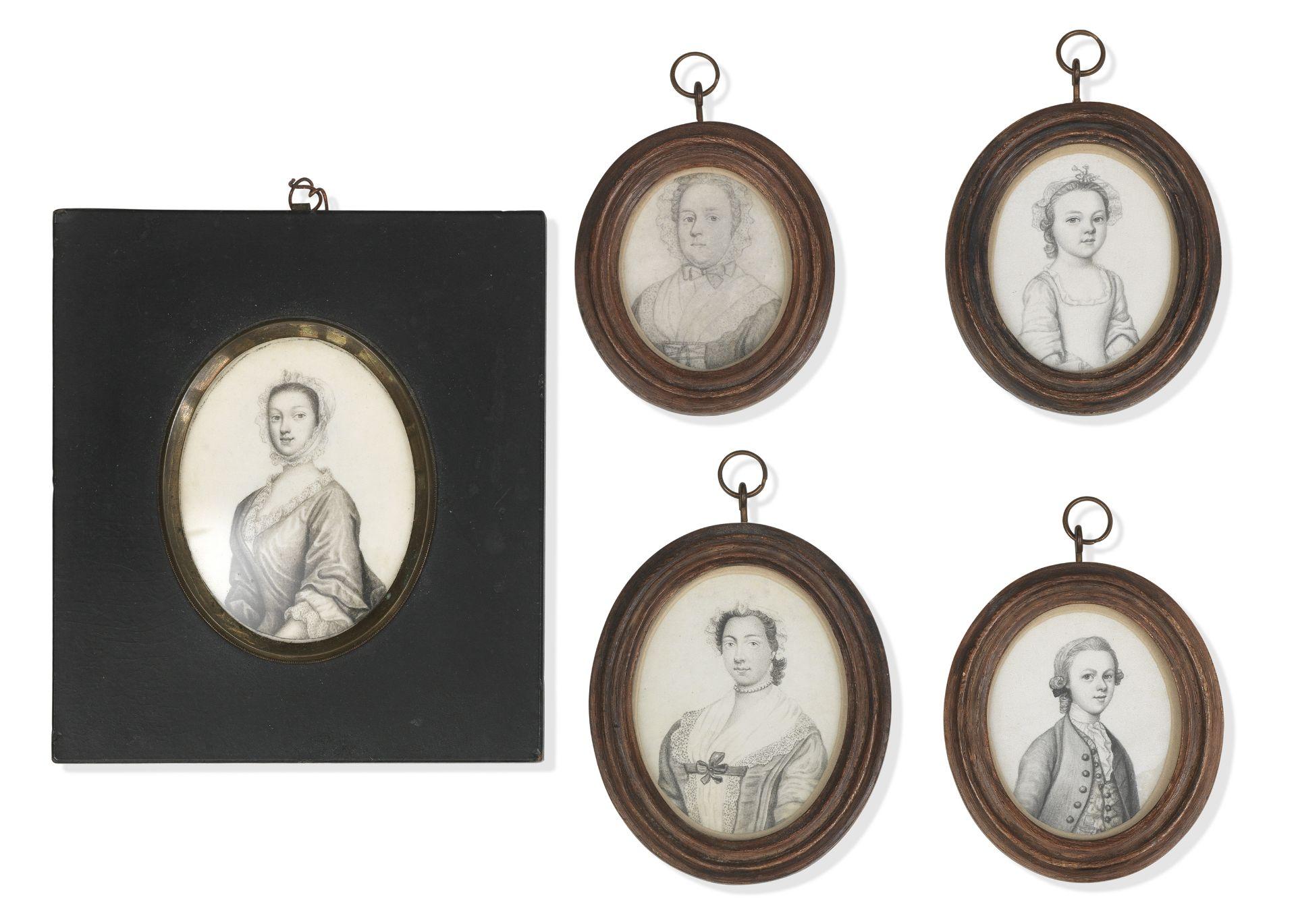 James Ferguson (Scottish, 1710-1776) A group of five plumbago miniatures: