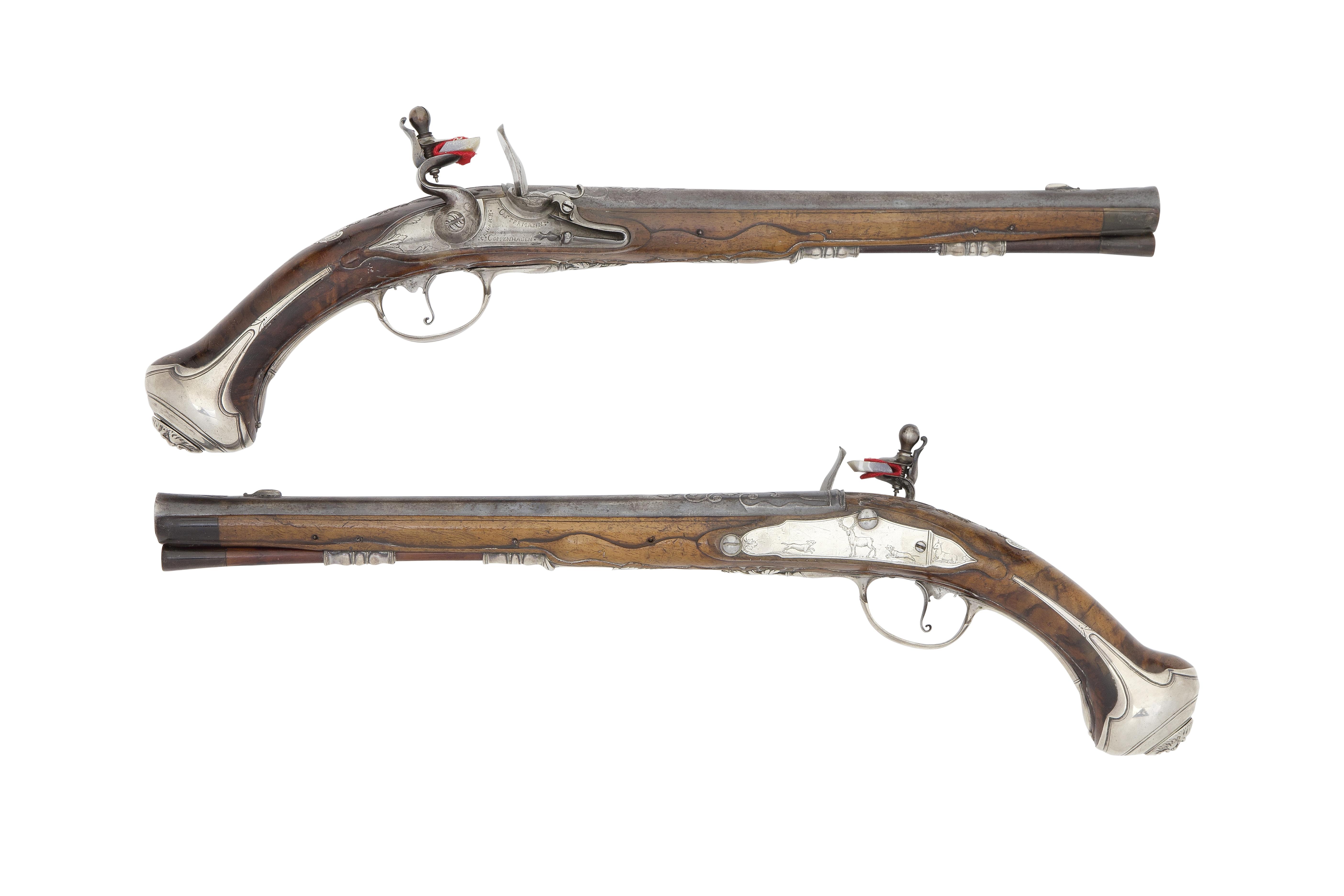 A Rare Pair Of Danish 22-Bore Flintlock Silver-Mounted Holster Pistols From Jagdschloß Krani...