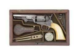 A Cased 1849 Model Pocket Percussion Revolver With Factory Engraved Decoration