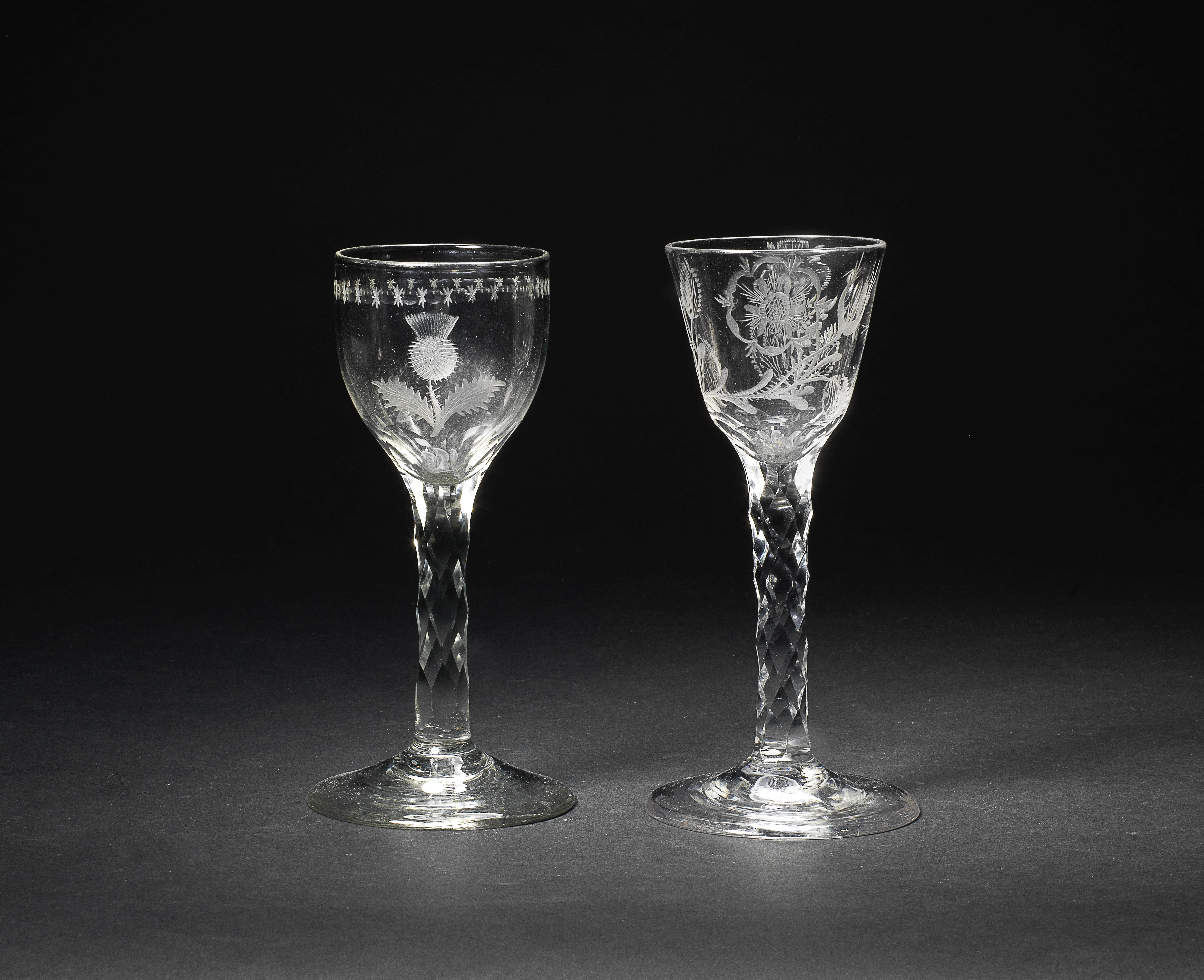 An engraved 'Thistle Club' wine glass and another of Jacobite interest, circa 1770-75