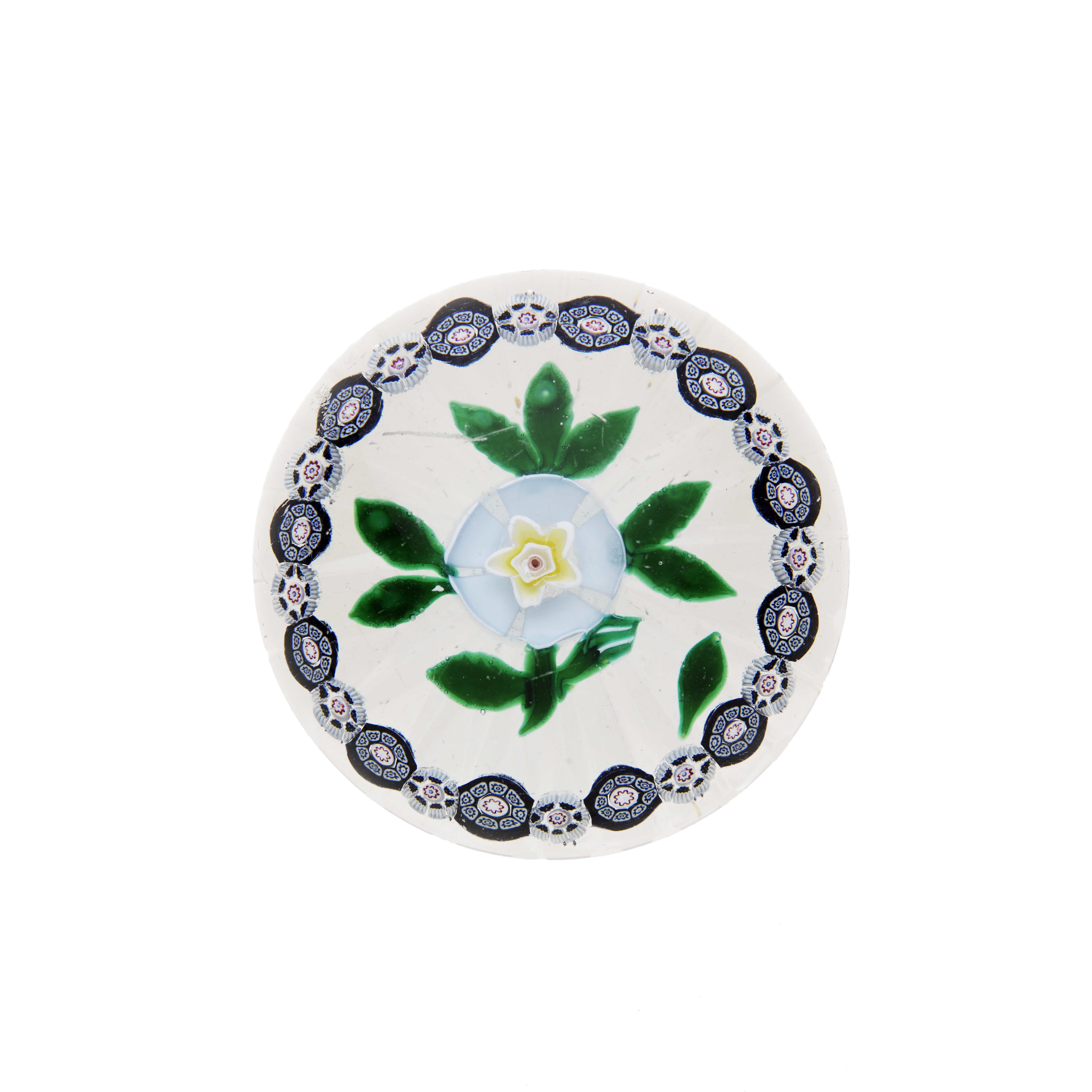 A rare American garlanded buttercup paperweight from the New England Glass Co, circa 1852-80