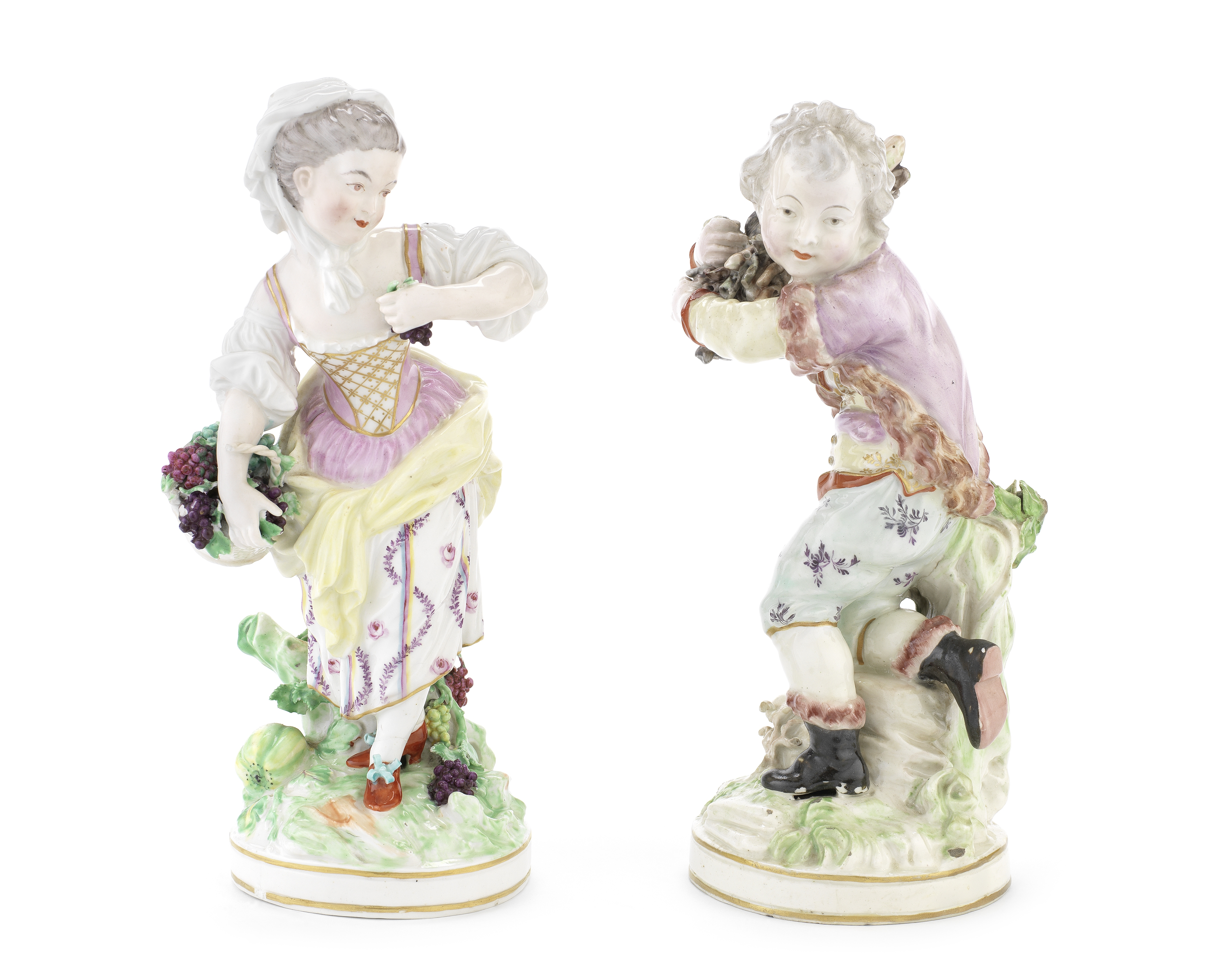 A pair of Derby figures and a dish, late 18th century