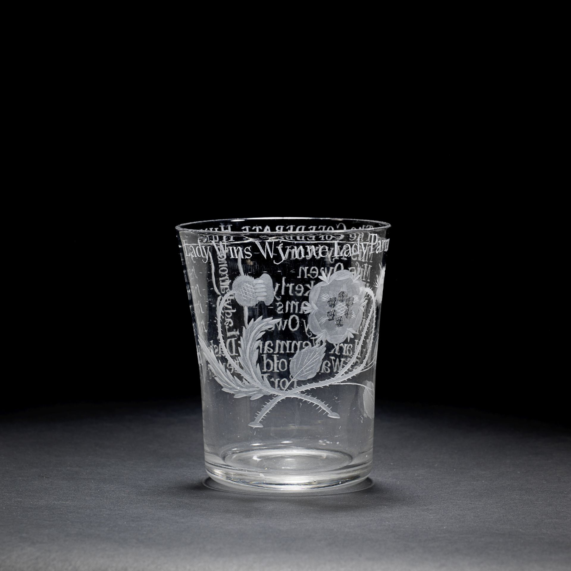 An important and unrecorded Jacobite engraved ceremonial 'Confederate Hunt' goblet, circa 1759-60