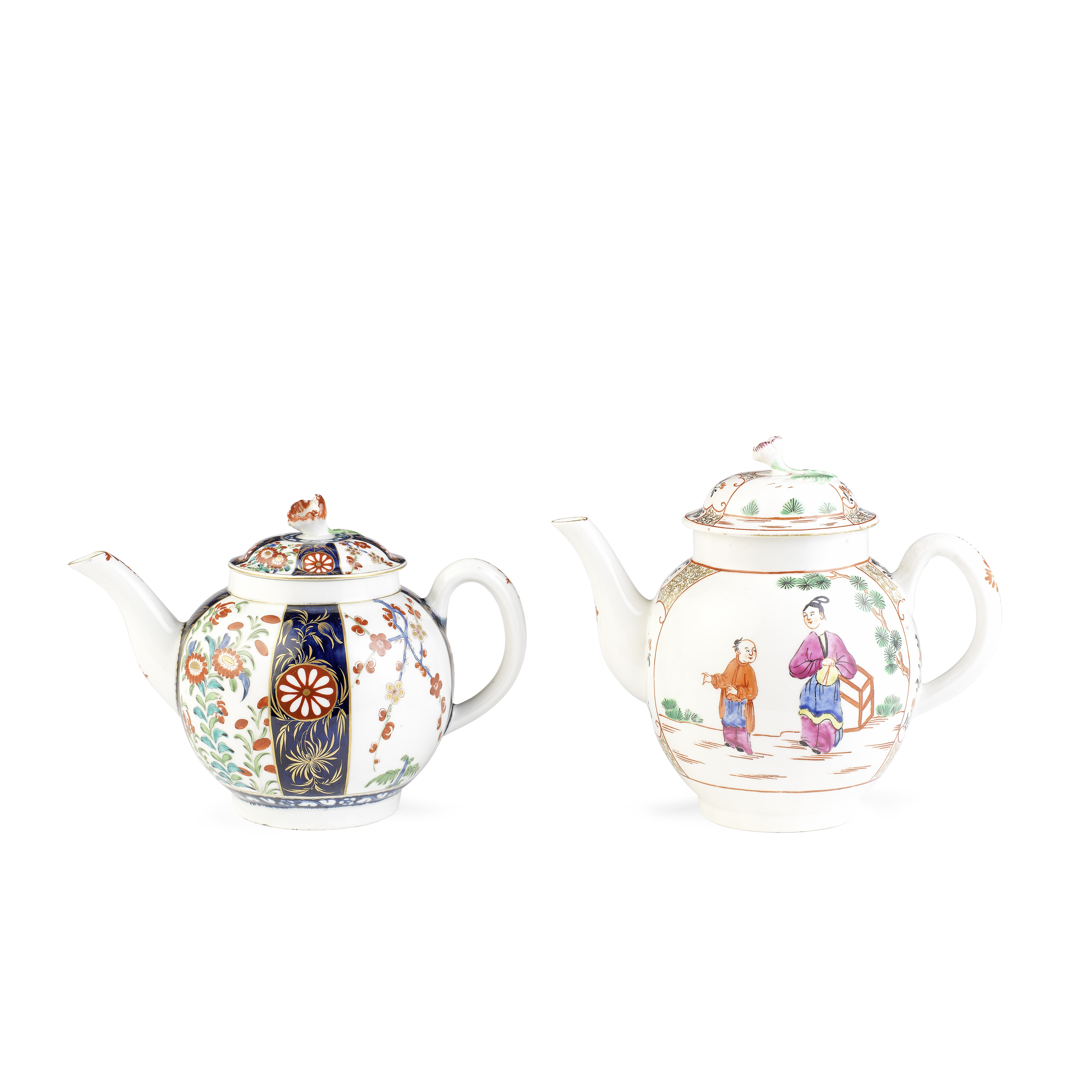 Two Worcester teapots and covers, circa 1770-75