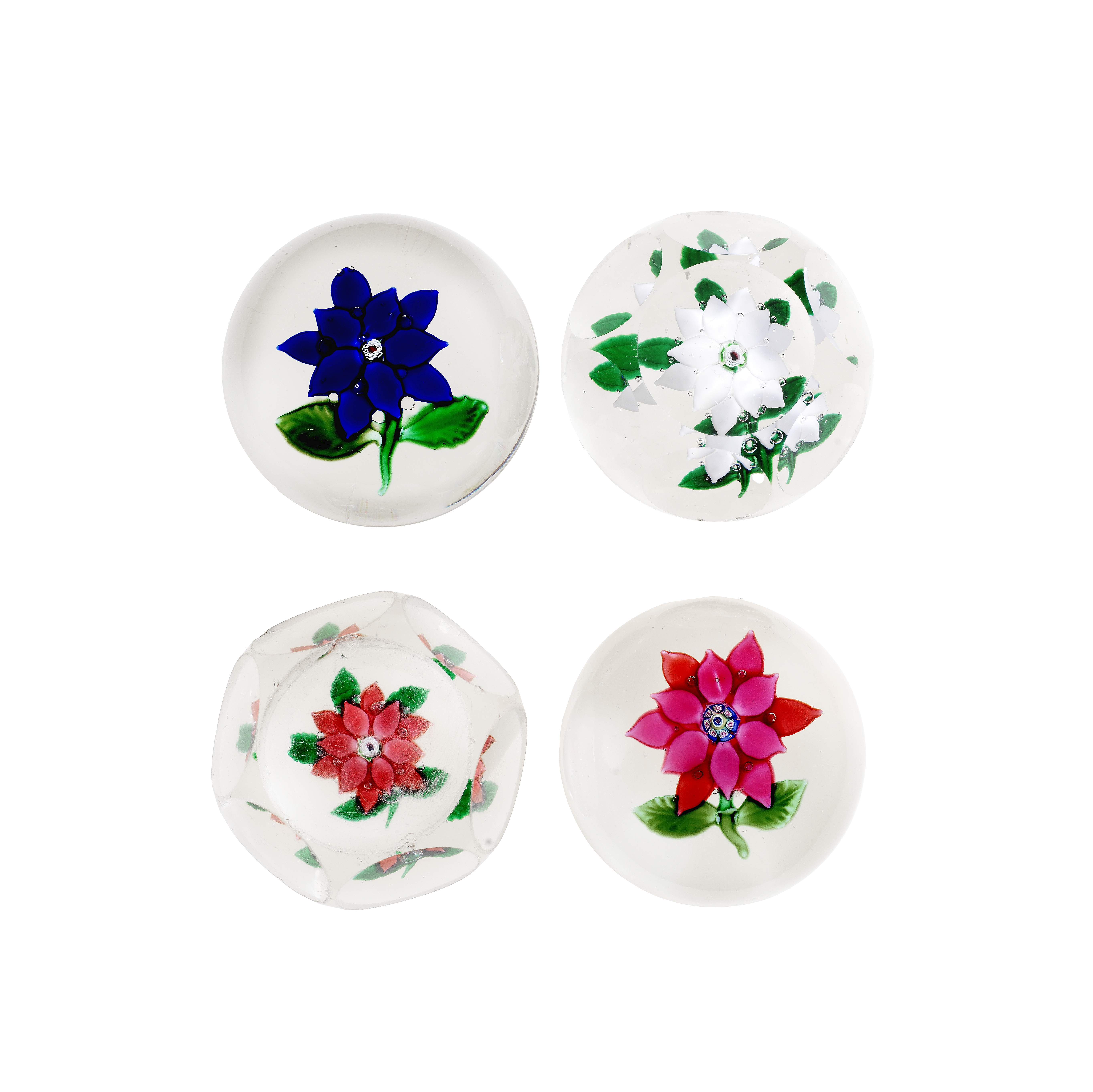 Four American poinsettia paperweights from the Boston and Sandwich Glass Co, circa 1870-80
