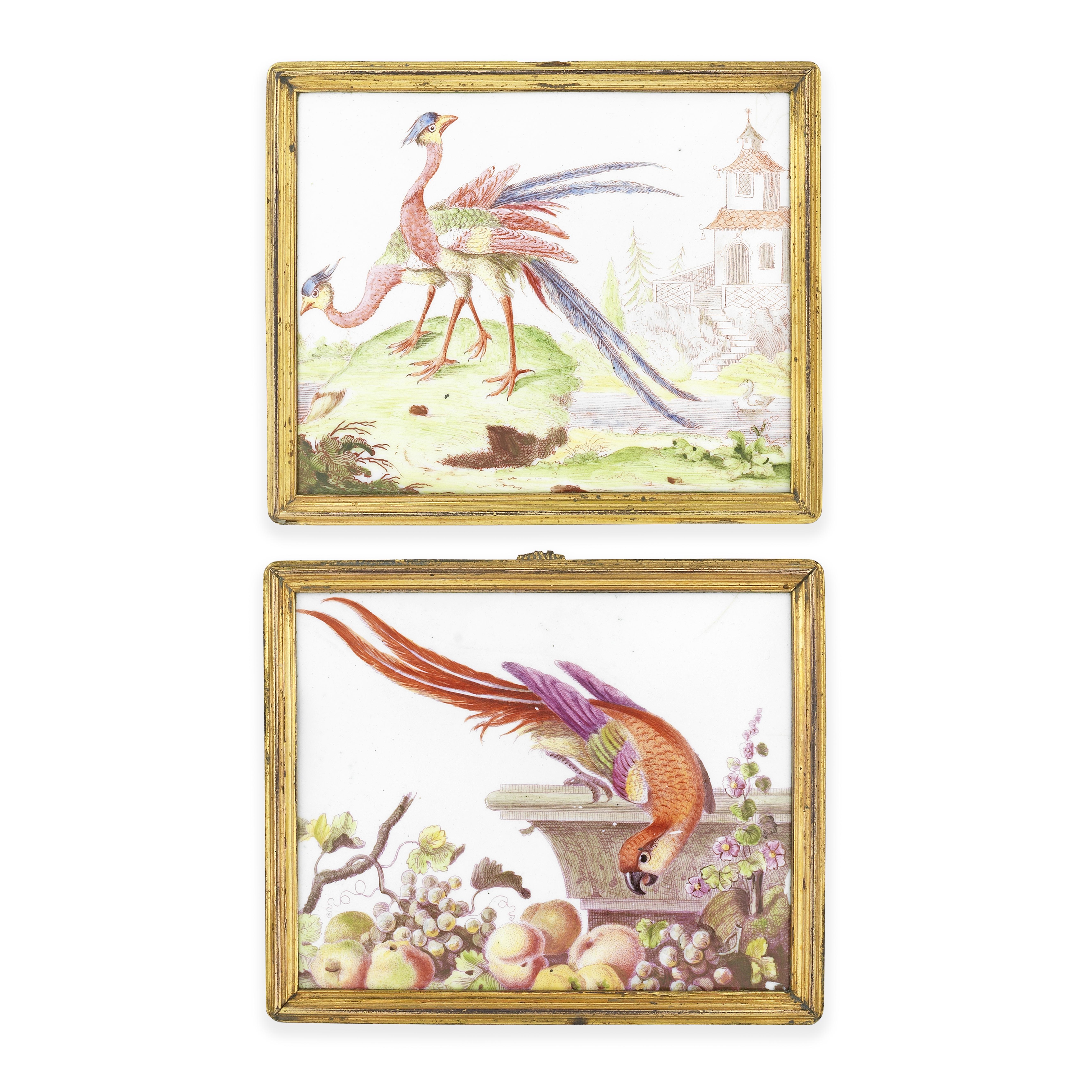 A good pair of Birmingham enamel plaques, circa 1755