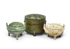 TWO POTTERY RITUAL TRIPOD FOOD VESSELS AND COVERS, DING, AND A POTTERY GREEN-GLAZED TRIPOD INCENS...