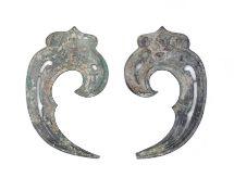 An unusual pair of bronze horse-harness cheek fittings Western Zhou Dynasty (4)