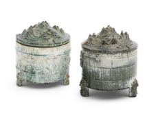 TWO GREEN-GLAZED POTTERY TRIPOD INCENSE BURNERS AND COVERS, LIAN Western Han Dynasty (4)