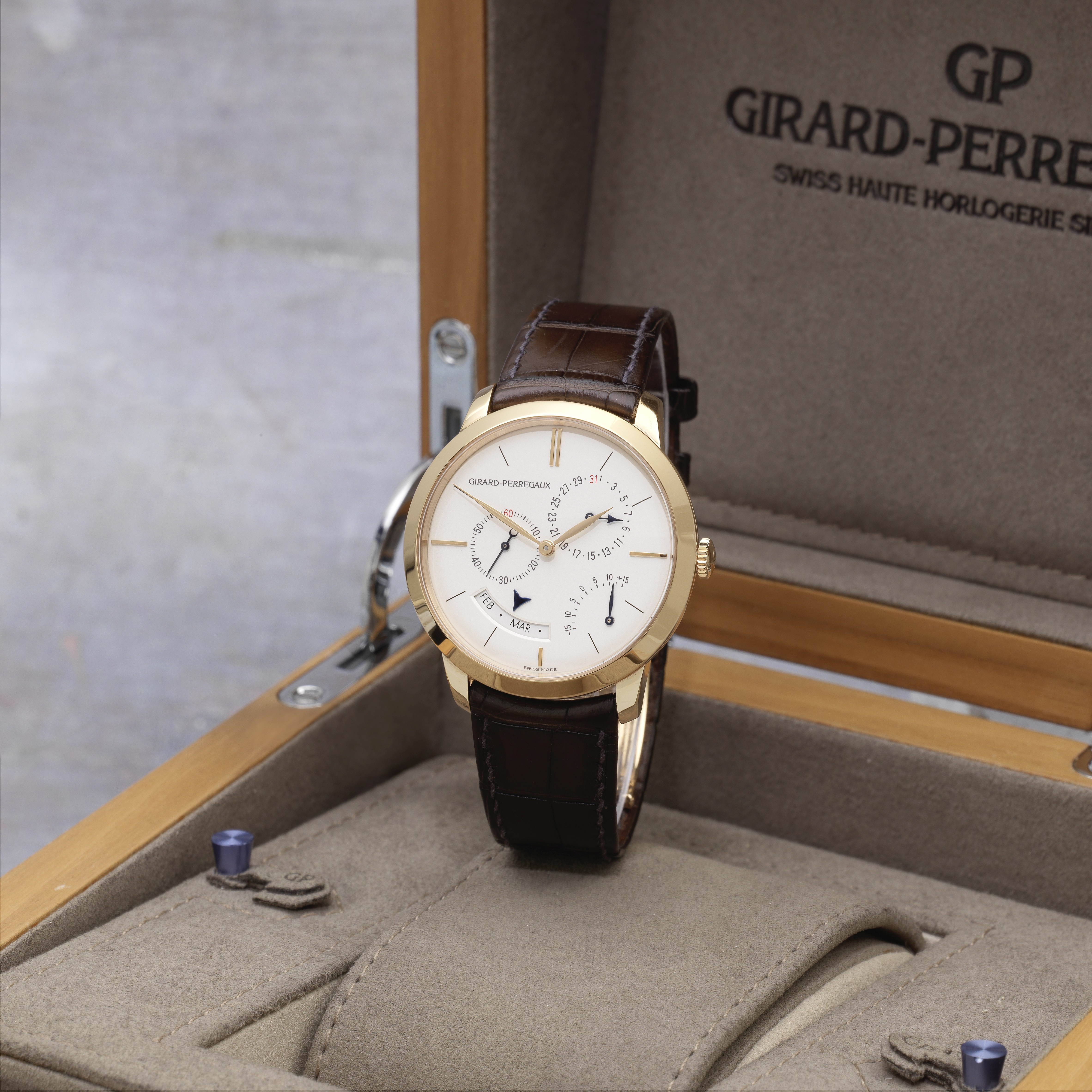 Girard-Perregaux. An 18K gold automatic annual calendar wristwatch with equation of time OR.No.6...