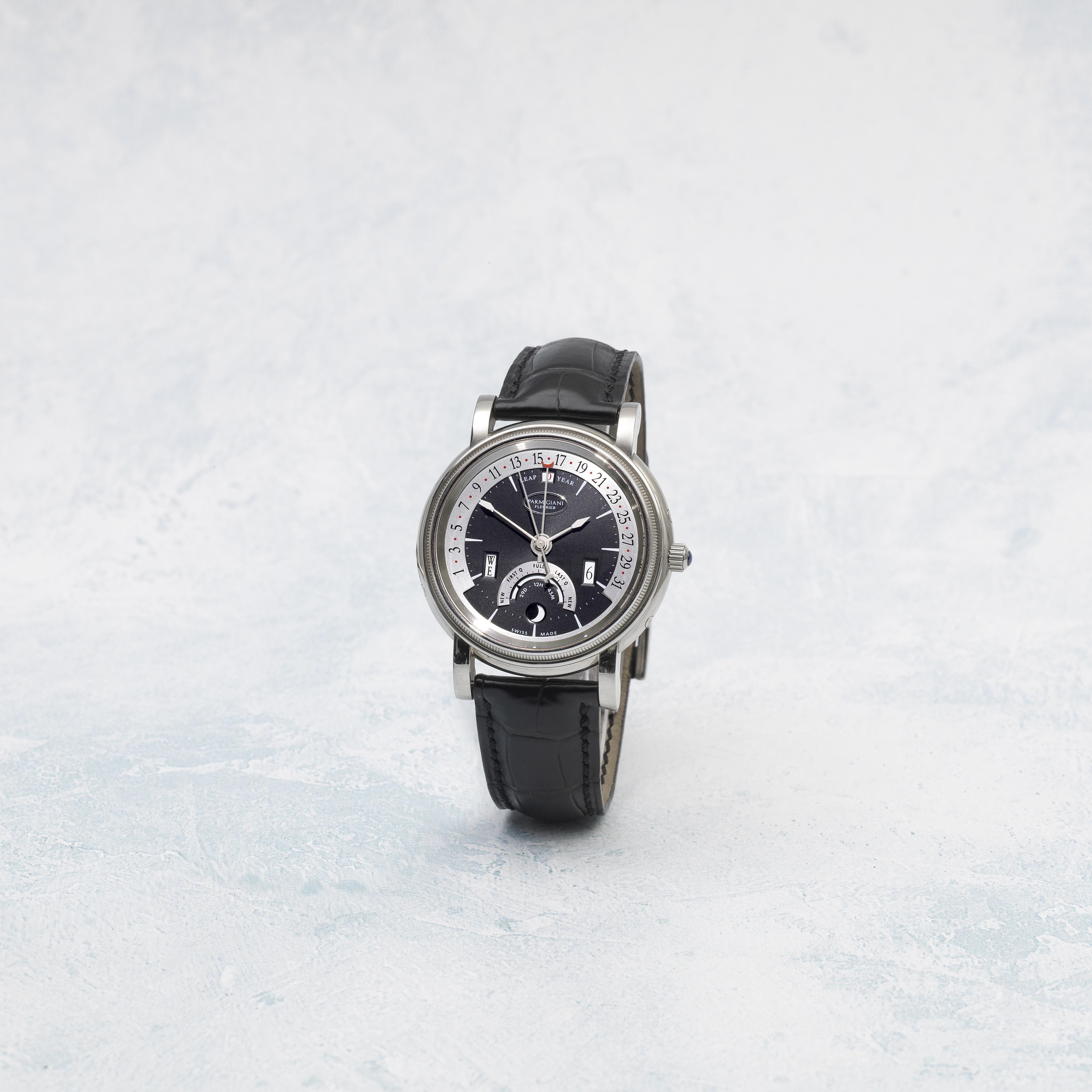 Parmigiani Fleurier. An 18K white gold automatic wristwatch with retrograde perpetual calendar, m...