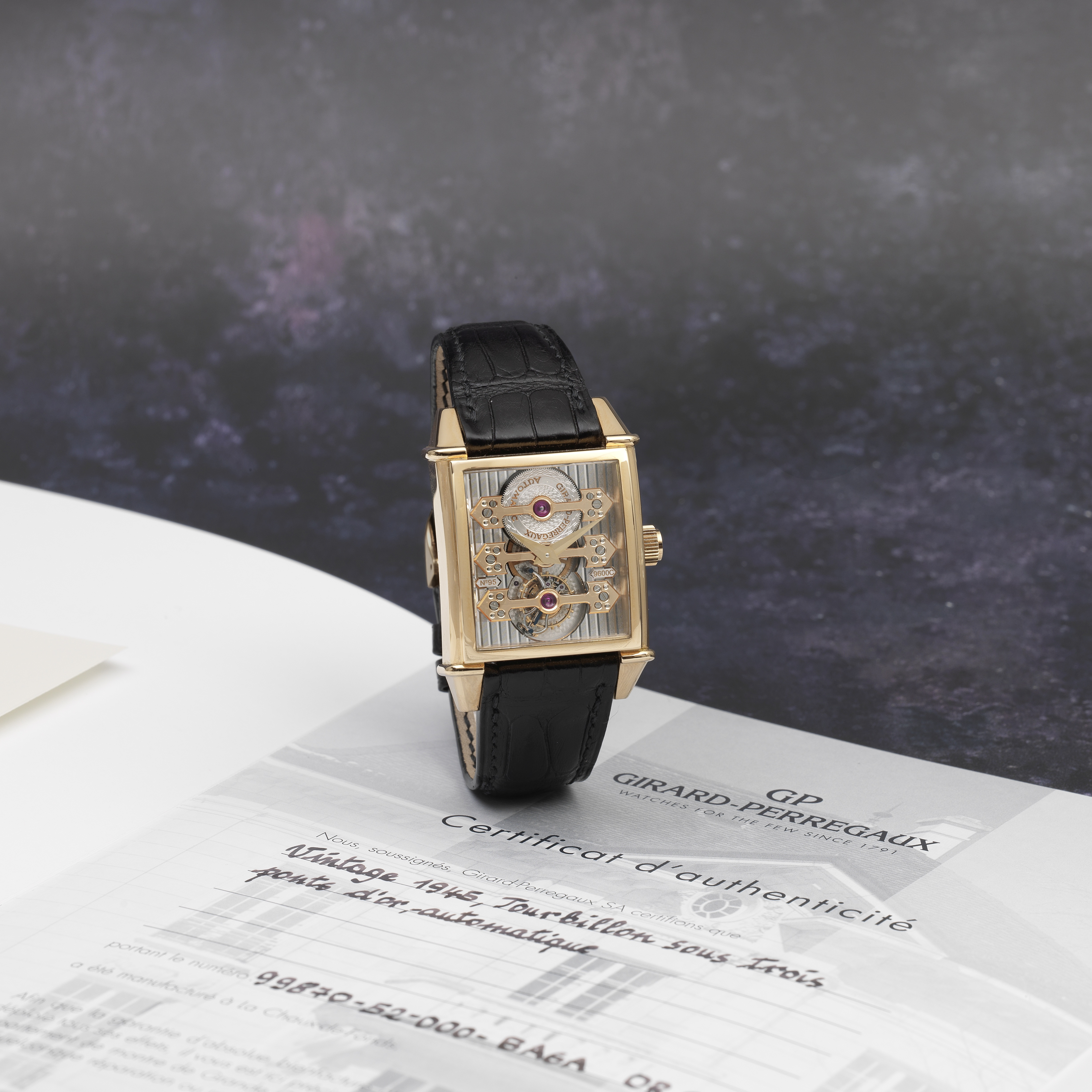 Girard-Perregaux. A fine and unusual 18K rose gold Limited Edition automatic skeletonised rectang...