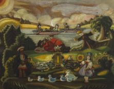 Sergei Yur'evich Sudeikin (Russian, 1883-1946) Tea party on a summer day: design for unidentified...