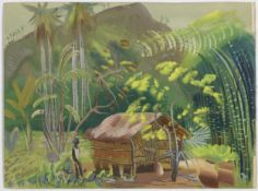 Boris Dmitrievich Grigoriev (Russian, 1886-1939) A pair of Brazilian landscapes: 'Blue Bay' and '...