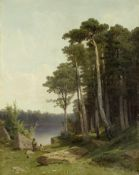 Arseniy Ivanovich Meshchersky (Russian, 1834-1902) A wooded lake landscape with children