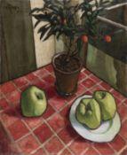 Nikolai Efimovich Kuznetsov (Russian, 1876-1970) Still life with apples and an orange tree