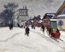 Arnold Borisovich Lakhovsky (Russian, 1880-1937) Winter scene