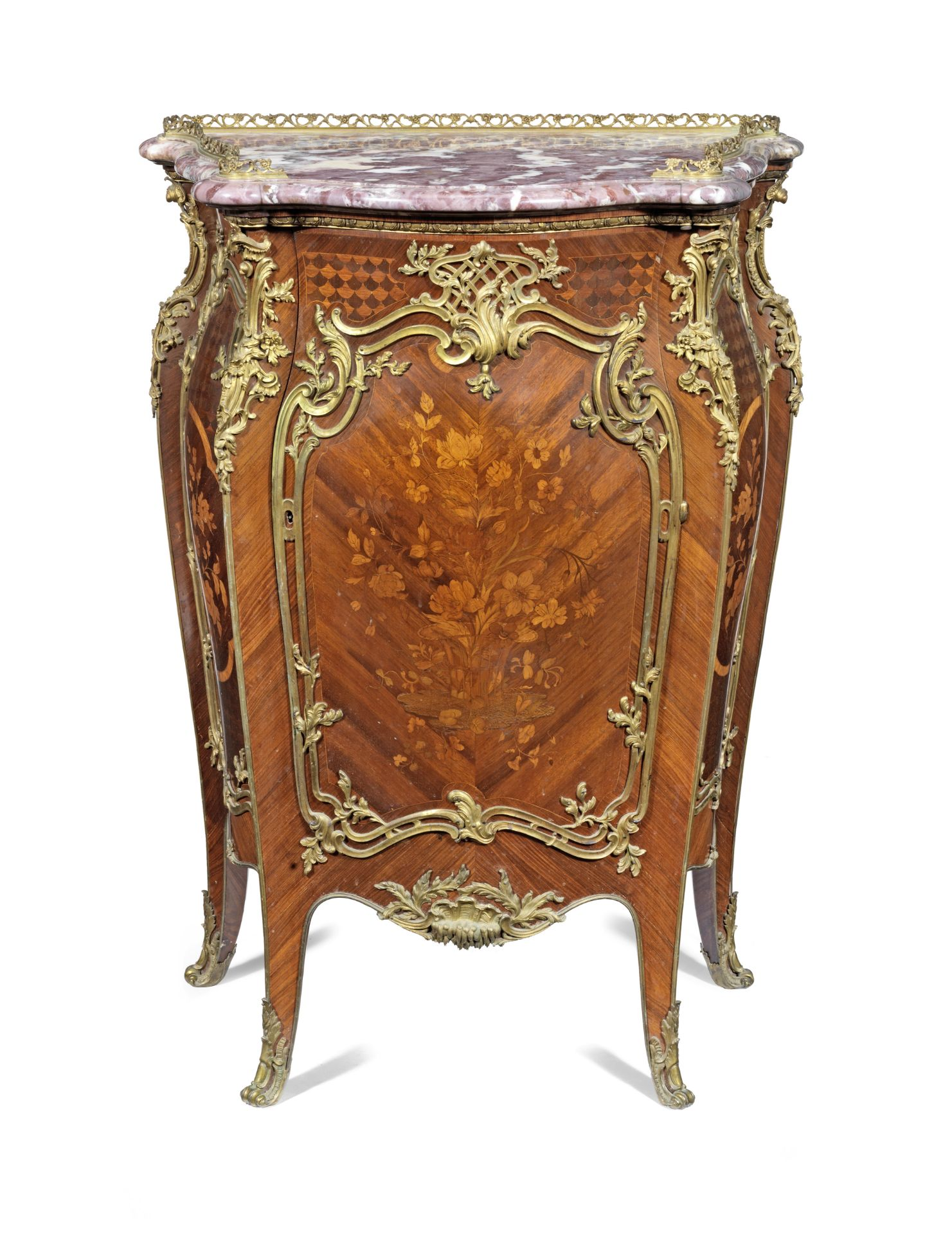 A French late 19th century ormolu mounted kingwood, bois satine, amaranth, marquetry and parquetr...