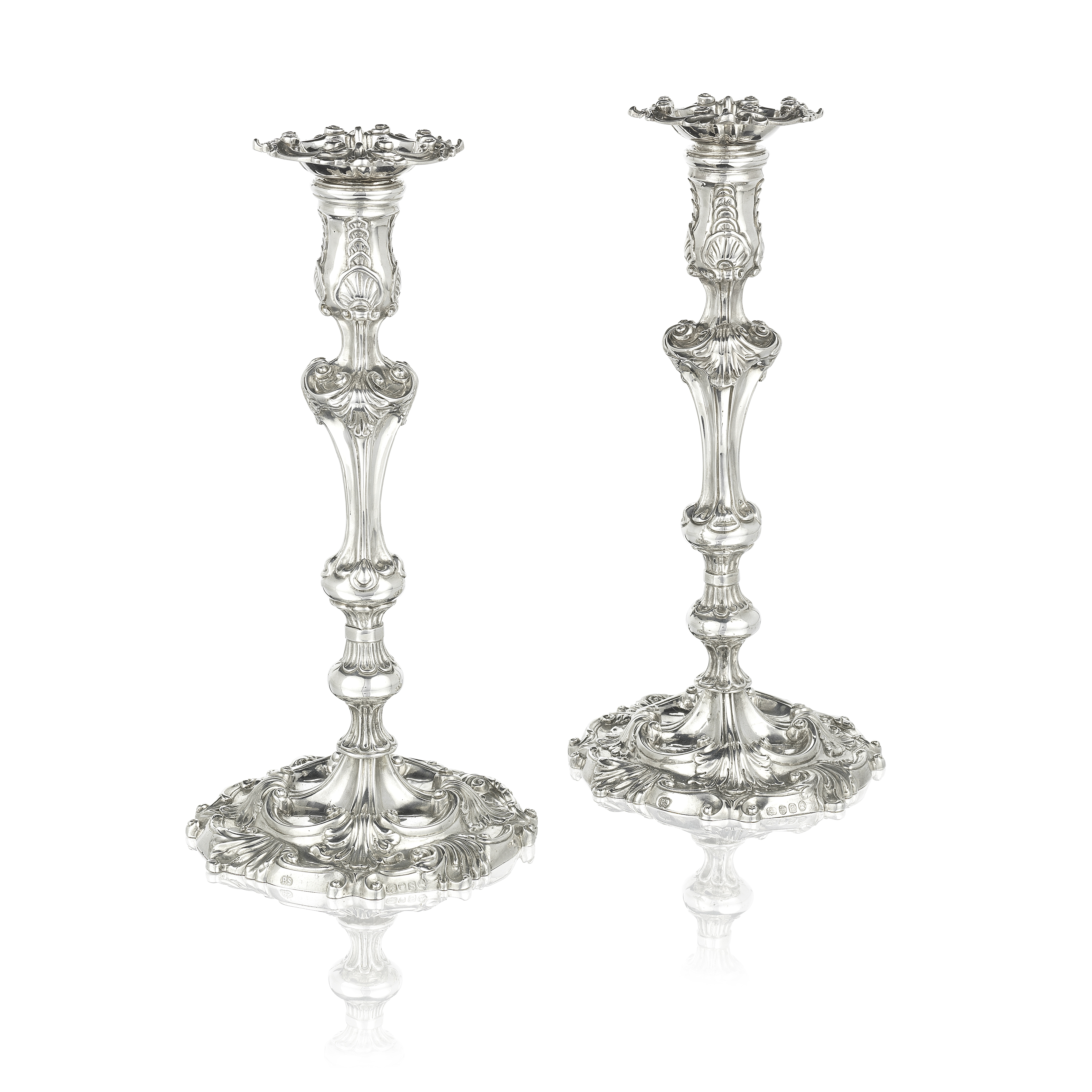 A pair of George III silver candlesticks Paul Storr, London 1813 (2)