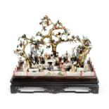 A fine late 18th / early 19th century Chinese export carved ivory and hardstone diorama of figure...