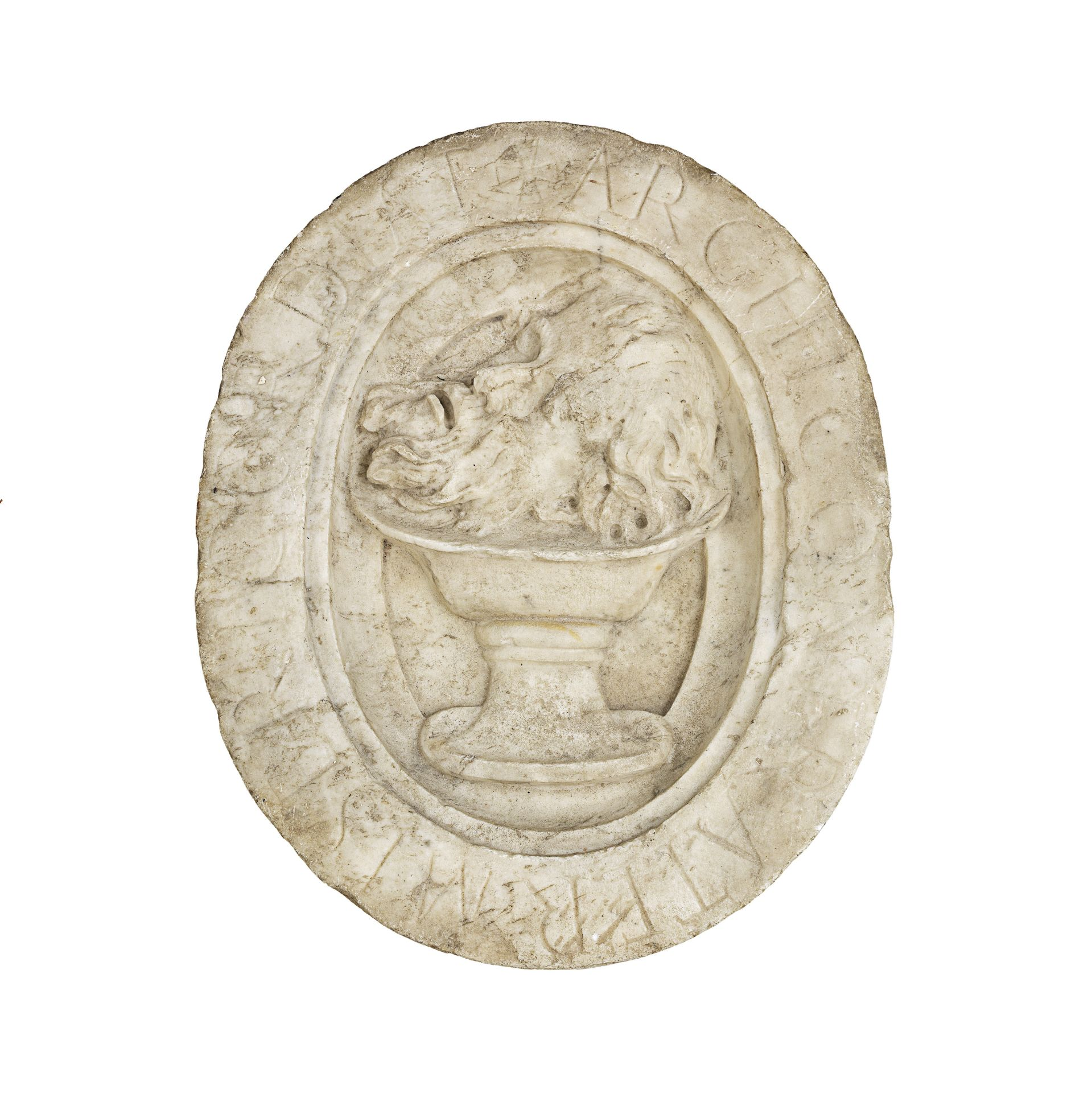 An Italian sculpted white marble oval relief depicting the head of St John the Baptist probably l...