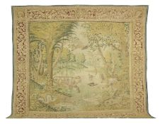A fine and rare Flemish tapestry, LIONESS IN THE RIVER, 1611-1614 signed Jan I Raes (the Elder) 1...