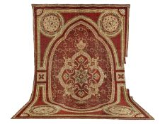 An impressive Axminster Carpet with medallion, later altered for a large fireplace England appro...