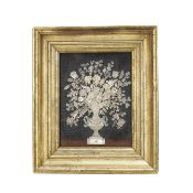 A rare Dutch mother of pearl inlaid panel depicting a vase of a garden flowers in the manner of D...