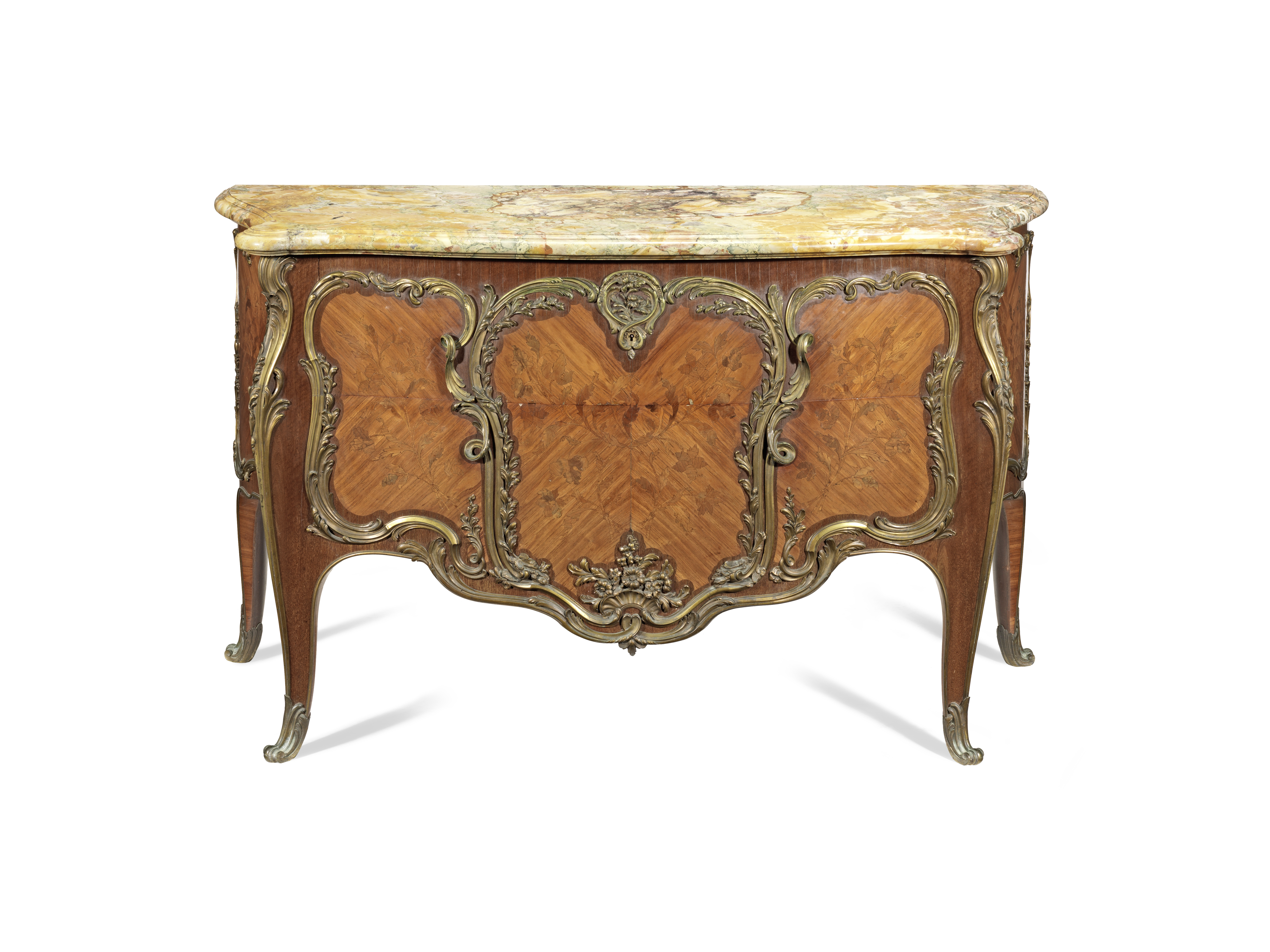 A French late 19th century ormolu mounted tulipwood, amaranth and 'bois de bout' (end-cut) marque...