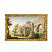 A fine Italian 'Grand Tour' micro mosaic miniature plaque depicting a view of the Roman walls Ro...