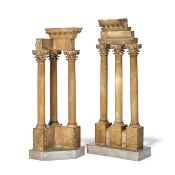 A pair of 19th Century Italian 'Grand Tour' carved alabaster temples of Vespasianus and Castor an...