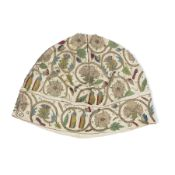 A fine and rare 17th century gentleman's embroidered linen night cap English, circa 1620