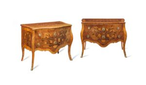 A pair of German third quarter 18th century walnut, ebonised, fruitwood marquetry and parquetry s...