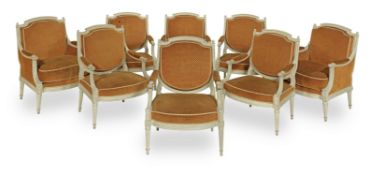 A Louis XVI suite of painted beech salon seat furniture comprising six fauteuils a la Reine and a...