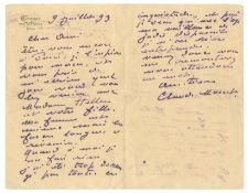 MONET (CLAUDE) Autograph letter signed ('Claude Monet') to 'Cher Ami' [Paul César Helleu], i...