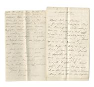 CARLYLE (JANE WELSH) & GERALDINE JEWSBURY Two autograph letters signed ('Jane W Carlyle' or 'Jane...