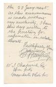 PHOTOGRAPHY MUYBRIDGE (EADWEARD) Autograph letter signed ('Eadweard Muybridge'), to W.J. Chadwick...