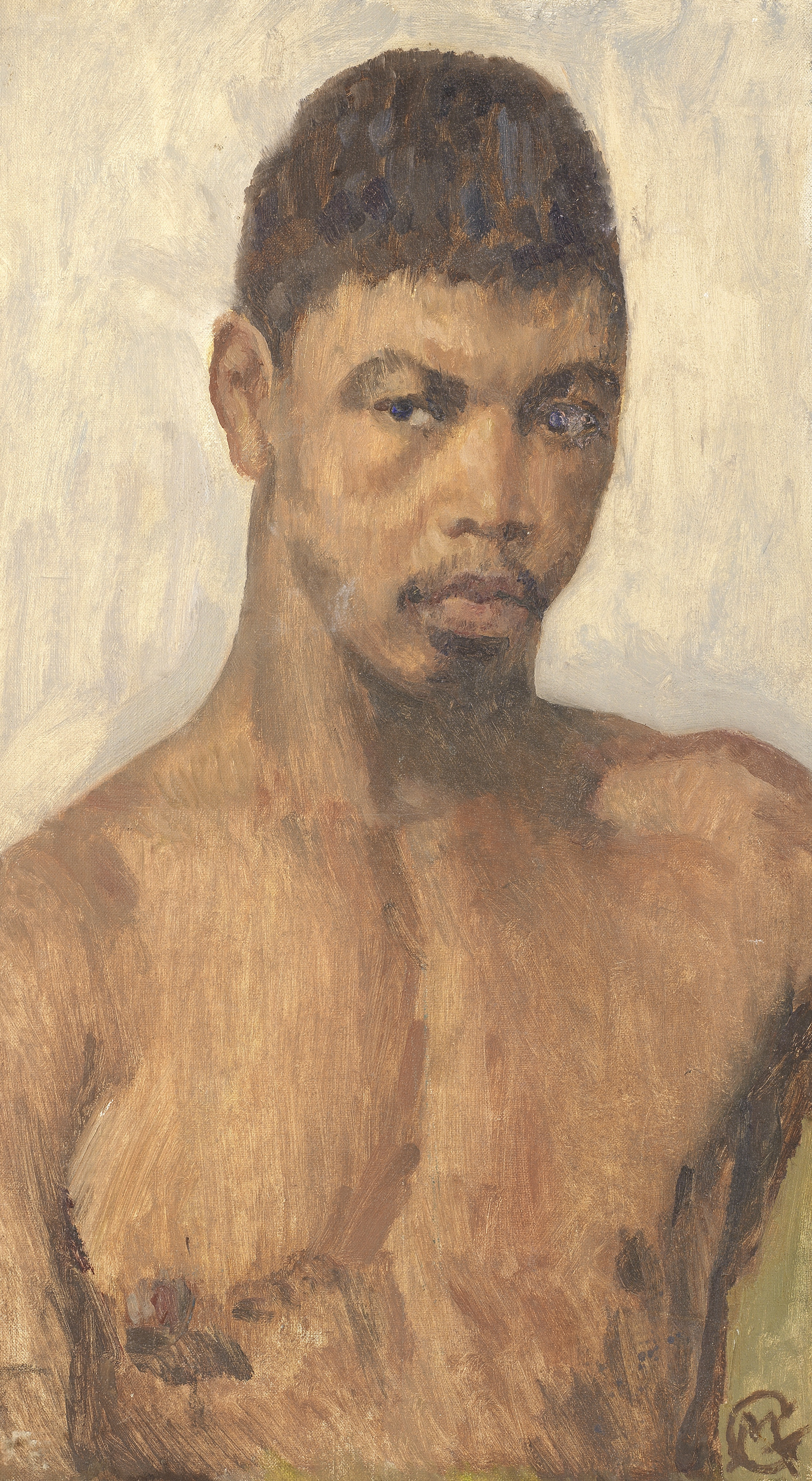 Morris Goldstein (Polish, 1892-1970) African Native (and on the reverse, an unfinished painting o...